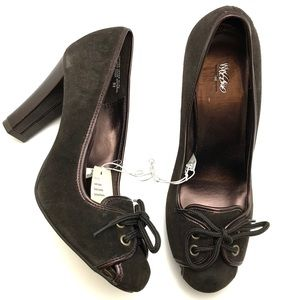 NWT Brown Suede Lace-Up Pumps - Sz 8.5